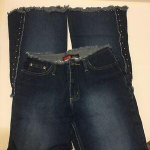 Younique jeans women's Juniors sz 3 raw hem waist embellished flare blue jeans