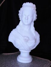 ANTIQUE EUROPEAN  SUPERB WHITE CARVED MARBLE BUST of MARIE ANTOINETTE