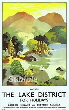 VINTAGE LAKE DISTRICT ULLSWATER RAILWAY TRAVEL A4 POSTER PRINT