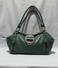 GUY LAROCHE Green Grain Leather Shoulder Bag