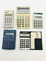Lot of 5 VINTAGE SHARP Calculators  - Working