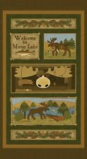 Moose Lodge  By The panel 24 x 43inches cotton fabric Fishing Moose