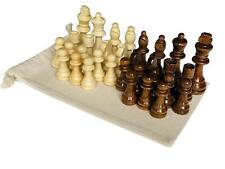 High Quality 32 Piece Wooden Carved Chess Pieces Hand Crafted Set 7 cm King