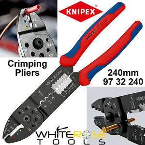 Knipex Terminal Crimping Pliers Tool 240mm Wire Stripper Screw Cutter 97 32 240