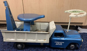 Vintage Structo Ride-Er Wrecker Tow Truck -Pressed Steel 1950s