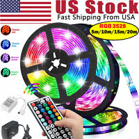 50FT 65FT Flexible 3528 RGB LED SMD Strip Light Fairy Lights Rooms TV Party Bar