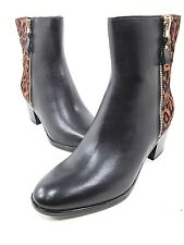 NATURALIZER HARDING BLACK LEATHER/ LEOPARD PONY HAIR BOOT WOMEN'S US SIZE 6M NEW