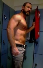 Shirtless Male Beefcake Muscular Hairy Dude Older Hunk Stud 4X6 Photo C1363