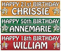 "2 PERSONALISED BIRTHDAY BANNER - ANY NAME  3ft - 36 ""x 11"" 1st 18th 21st 30th"