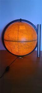 "Vintage CRAM'S PLASTI-LITE 12"" ILLUMINATED WORLD GLOBE Lamp Light Part ATLAS"