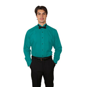 Tuxedo Teal Shirt With Wing Tip Collar