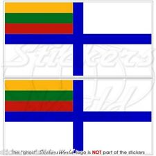"LITUANIA Marina Insegna Lituana Navale Bandiera Adesivi 75mm(3"") Stickers x2"