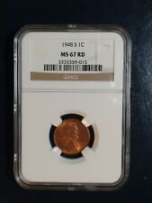 1948 S Lincoln Wheat Cent NGC MS67 RED GEM 1C Coin PRICED TO SELL QUICKLY!