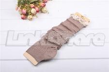 TX LOCAL Crochet Lace Trim Stockings Boot cuffs Socks Cotton Knit Leg Warmer ov