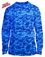 Microfiber Long Sleeve Fishing Shirt UPF 50 BLUE DIGITAL CAMO