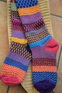 Recycled Cotton Socks Patterned Mismatched Knee Length Carnation Pink Orange