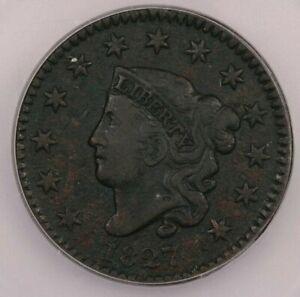 1827 Coronet Head Large Cent ICG VF20 Details