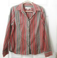 Madison Hill Size L Large Striped Long Sleeve Orange Button Up Cotton Top