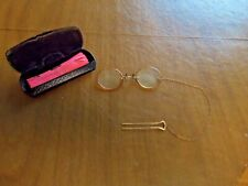 Antique Nose Pinch Pince-Nez Spectacles Oval Lenses with Hairpin Chain & Case