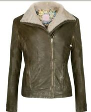Ted Baker London Green Ciel Genuine Shearling Collar Leather Jacket 2 (US6) $725