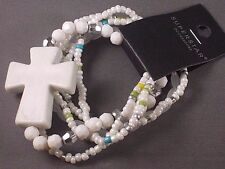Christian 6 Bracelet Set CROSS Silver Accent Stretch Design WHITE Last One! L@@K