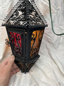 Spanish revival Pendant chandelier entranceway iron slag glass panels