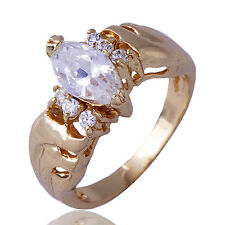 Fashion Jewelry Womens Ring Yellow Gold Filled Clear CZ Size 5 Free Shipping