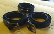 "3 x Mens Elasticated Stretch Belt 1"" Wide - BLACK - suits Waist 36"" - 50"""