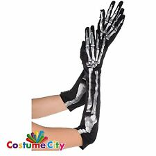 Adults Black & Bone Elbow Length Skeleton Gloves Fancy Dress Costume Accessory