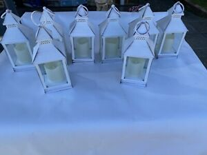 BUNDLE of 8 WHITE FLICKERING FLAME FAUX CANDLE BATTERY OPERATED LANTERNS WEDDING