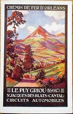 Railroad Poster Art 1910 French Advertising Postcard: Le Puy Griou, St. Jacques