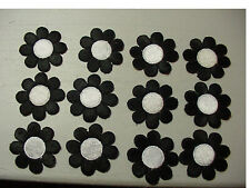 LOT of 12 VINTAGE Daisy Flower Black & White EMBROIDERED 60'S IRON ON PATCH-2