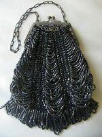 Antique Art Nouveau Silver Filigree Frame Black Knit Grey Iridescent Bead Purse
