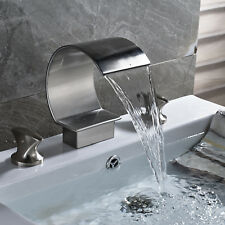 Brushed Nickel Bathroom Basin Faucet Waterfall Spout Roman Tub Sink Mixer Tap