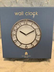 Michael Graves Design Wall Clock Brushed Metal Color NIP
