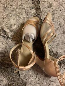 VTG ? Women's Ballroom Tango Salsa Latin Dance Shoes , tan satin, size 6 New
