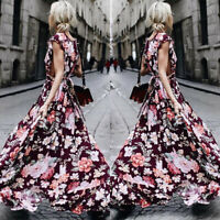 Women's Ladies Boho Floral Maxi Long Dress Evening Party Summer Beach Sundress