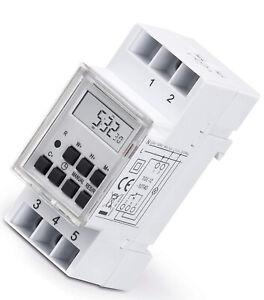 Digitale Wochen Zeitschaltuhr Hutschiene Schalttafel Einbau 230V max.3600W Timer