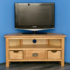 Surrey Oak Corner TV Unit with Storage Baskets / Waxed Wooden TV Stand / NEW