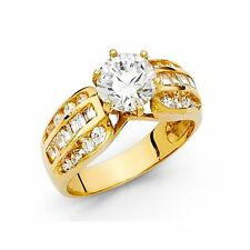 2 ct Man made Diamond Engagement Wedding Ring 14K Yellow Solid Gold Solitaire