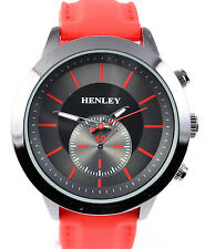 Henley Mens Black & Red Smart Casual Sports Watch with Smooth Red Silicone Strap