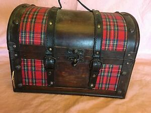 Wood Round Top Domed Box Leather Handle Trim Pirate Treasure Chest Metal Clasp