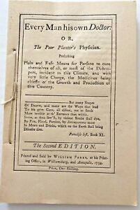 EVERY MAN HIS OWN DOCTOR, The Poor Planter's Physician, John Tennent, Reprint