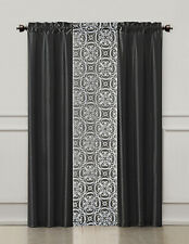 3 Piece Window Treatment Set 2 Faux Silk& 1 Printed Voile/sheer Panel  (Black)