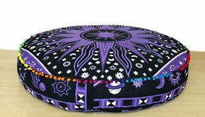 """Indian Cotton Handmade Mandala Seating Pouf Cover Round Cushion Cover 35"""" Inches"""