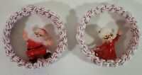 Vintage Santa & Mrs Claus Handmade Macrame Round Christmas Ornaments