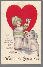 [53659] OLD POSTCARD VALENTINE GREETINGS GIRL WITH WHITE CAT FLUFFS