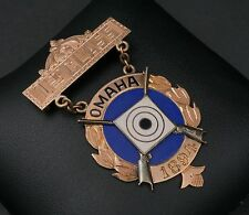 Rare 14k Gold Enamel 1st Class Marksman Award EIC Badge Army Omaha 1894 M282