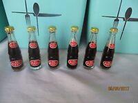 "6 pack Vintage Miniature Mini Bottle  Dr Pepper 3"" Tall Full Metal Cap Argentina"