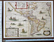 """Antique vintage old colour Picture map America 1600's, 1631: 12 X 9"""" Reprint"""